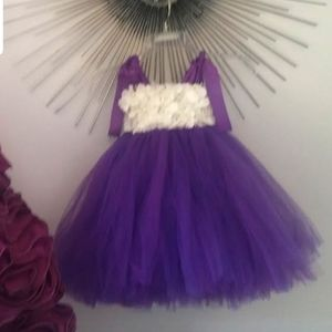 Purple white 3D flowers tulle girl's dress gown